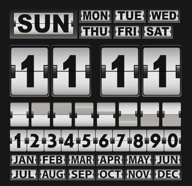 Orologio e calendario con ribaltamento retrò vettoriale