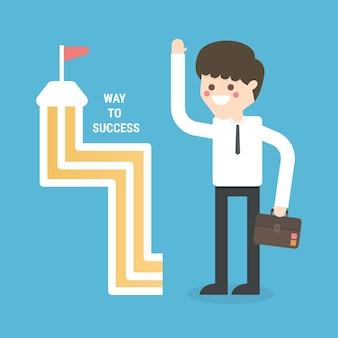 Strada vettoriale al successo concettuale.