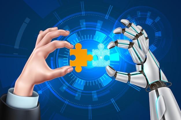 Mani dell'uomo di affari del robot di vettore con il puzzle