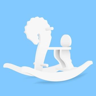 Vector cavallo a dondolo giocattolo per bambini - illustrazione su sfondo blu
