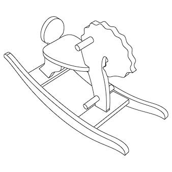 Vector cavallo a dondolo giocattolo per bambini - illustrazione al tratto