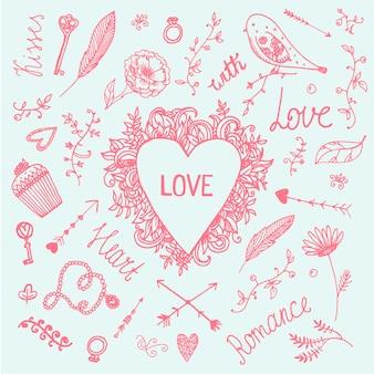 Insieme romantico dell'illustrazione di vettore, collezione disegnata a mano dell'annata di amore. cuore, frecce, turbinii, uccelli fiori