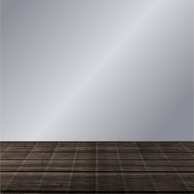 Vector camera con parete grigia e pavimento in legno