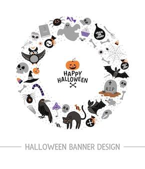 Cornice rotonda vettoriale con elementi di halloween. clipart tradizionale del partito di samhain. design spaventoso per striscioni, poster, inviti. simpatico modello di biglietto per le vacanze autunnali a forma di cerchio.