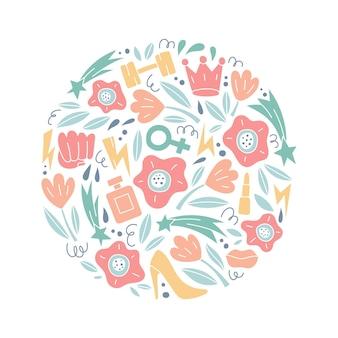 Illustrazione vettoriale rotonda con simboli e oggetti femminili e femminizzati concetto di femminismogirl power