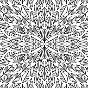 Modello rotondo vettoriale con motivo floreale foglie