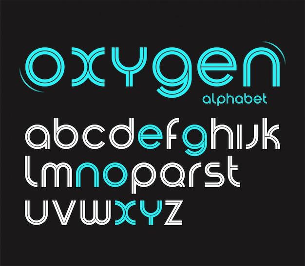 Carattere minimalista di stile rotondo di vettore, lettere dell'alfabeto