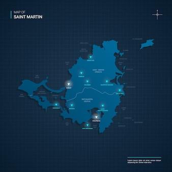 Illustrazione della mappa di saint martin di vettore con punti luce al neon blu