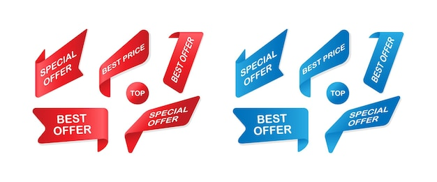 Set di nastri e adesivi dei distintivi di vendita di vettore. bandiere di vendita isolate. vettore eps10