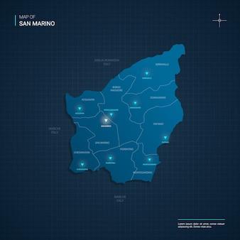 Illustrazione di mappa di san marino vettoriale con punti luce al neon blu