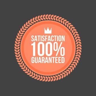 Distintivo piatto soddisfazione vettoriale garantita, etichetta rotonda.
