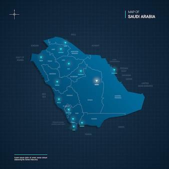 Illustrazione della mappa dell'arabia saudita vettoriale con punti luce al neon blu