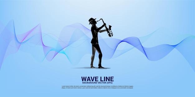 Sassofonista vettoriale con onda dalla linea. sfondo del concetto per la canzone jazz e il tema del concerto.