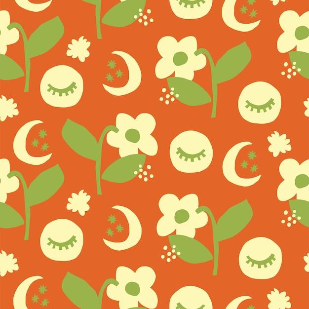 Vector scandinavia carino e semplice fiore e la luna illustrazione perfetta ripetizione pattern