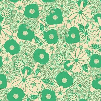Vector il mazzo di fiori scandinavi delinea il modello di ripetizione senza cuciture dell'illustrazione in bianco e nero