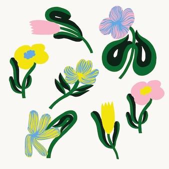 Risorsa grafica dell'illustrazione del fiore del tulipano di forma semplice e astratta scandinava di vettore