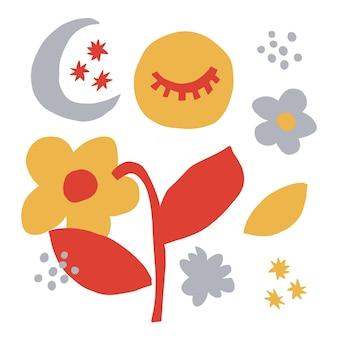 Vector stile scandinavo icona semplice e moderno fiore stelle icona occhio di luna illustrazione
