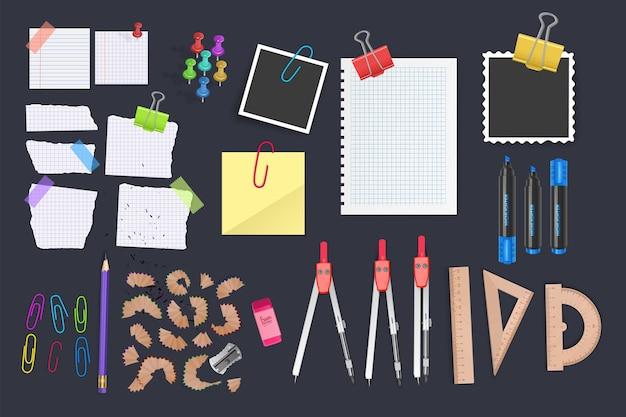 Set di icone vettoriali per la scuola e l'ufficio, strumenti per ufficio