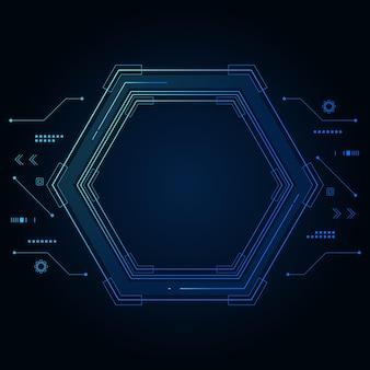 Modello futuristico esagonale di fantascienza di vettore, fondo di tecnologia del futuro di innovazione,