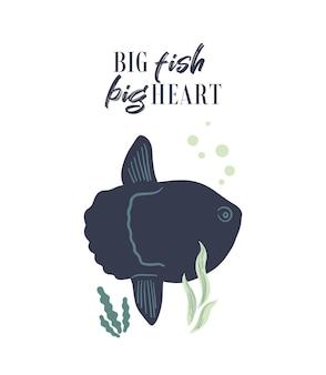 Poster di vita marina vettoriale con scritta big fish grande cuore con mola o moonfish
