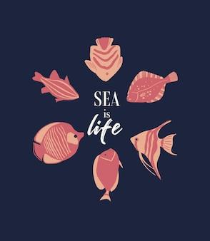 Poster di vita marina vettoriale con scritta 'sea is life' e pesci tropicali. illustrazione del fumetto