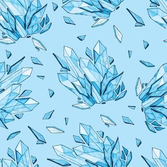 Sfondo vettoriale senza soluzione di continuità di cristallo o diamanti