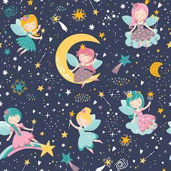 Reticolo infantile senza giunte di vettore con unicorno fata stelle fiori arcobaleno e altri elementi