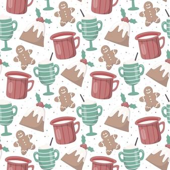 Reticolo di natale senza giunte di vettore. atmosfera calda accogliente. tazze e boccali con bevande calde come tè, caffè o cacao. deliziosi muffin all'agrifoglio e pan di zenzero. decorazione per sfondo o carta da imballaggio.