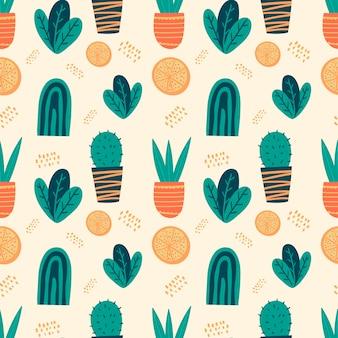 Reticolo senza giunte di doodle di vettore. elementi di arredo divertenti e carini dei cartoni animati. fiori in vaso, macchie e foglie. macchie e macchie luminose, forme astratte. decorazione per sfondo o carta da imballaggio.