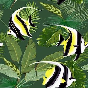 Grafica estiva di palme floreali senza giunte di vettore con pesci tropicali. per sfondi, sfondi, trame, tessuti, carte.