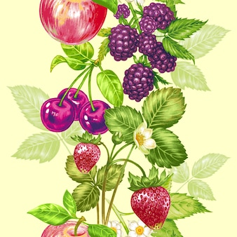 Reticolo floreale senza giunte di vettore con frutti e bacche.