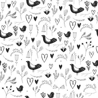 Reticolo romantico floreale senza giunte di vettore con uccelli, cuori e fiori. bianco e nero, disegnato a mano
