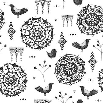 Reticolo tribale di doodle disegnato a mano senza giunte di vettore, sfondo, stile tribale. utilizzare per avvolgere, tessuto, decaroation.