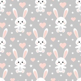 Reticolo romantico incantevole senza giunte di vettore con simpatici conigli, cuori, stelle su sfondo grigio.