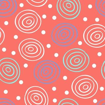 Fondo senza cuciture di vettore nel colore alla moda del 2019 con disegno astratto di doodle