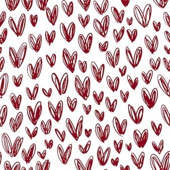Vector seamless pattern di borgogna cuori