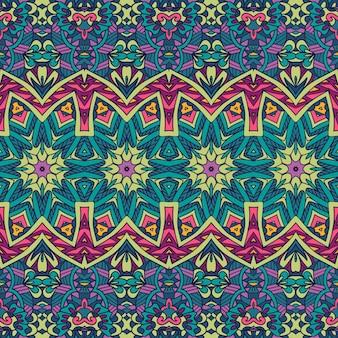 Stampa di tessuto colorato psichedelico floreale tribale etnico senza cuciture vettoriale