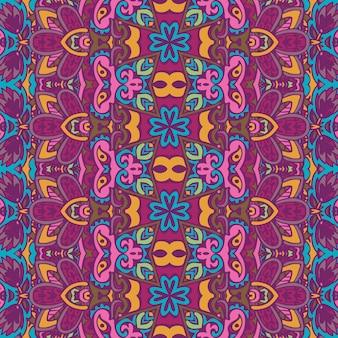 Stampa di tessuto colorato psichedelico floreale tribale etnico senza cuciture vettoriale vector