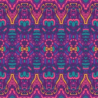 Stampa colorata psichedelica geometrica tribale etnica senza cuciture vettoriale vector