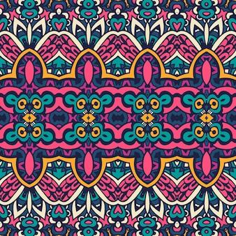 Modello senza cuciture di vettore etnico tribale geometrico psichedelico colorato stampa