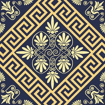 Ornamento greco oro senza cuciture di vettore (meandro)