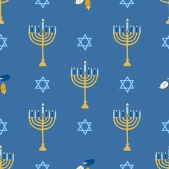 Reticolo senza giunte happy hanukkah menorah portacandele con candele accese