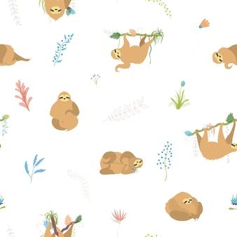 Modello senza cuciture di vettore di bradipo simpatico personaggio. bradipo rampicante del bambino isolato del fumetto.