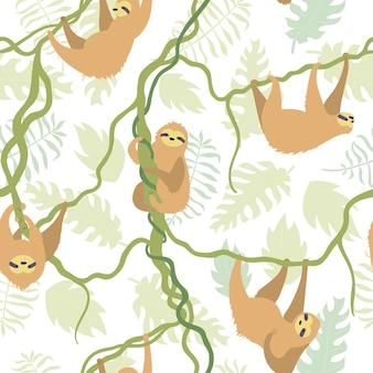 Modello senza cuciture di vettore del bradipo carino con foglie di giungla. bradipi rampicanti del bambino dei cartoni animati