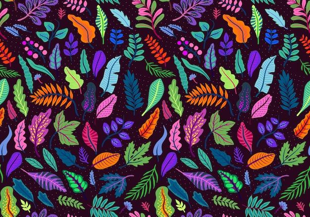 Vector seamless pattern di foglie tropicali in stile folk. piante orientali esotiche. varie foglie luminose su sfondo nero.
