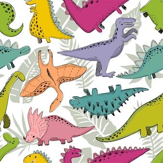 Reticolo senza giunte di vettore con dinosauro carino bambino semplice stampa infantile