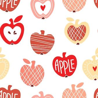 Reticolo senza giunte con mele carine astratte per carta da imballaggio, carta scrapbook