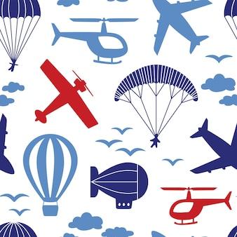 Modello vettoriale senza soluzione di continuità con aeroplani, elicotteri, paracadute, mongolfiere, dirigibili tra le nuvole