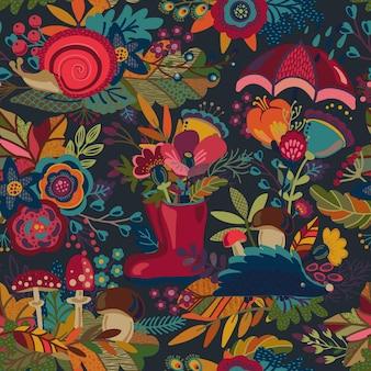 Reticolo senza giunte con mazzi di fiori autunnali, cadono belle foglie luminose, fiori, rami, bacche, funghi. sfondo colorato senza fine.