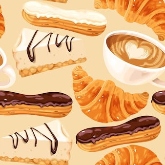 Reticolo senza giunte con le tazze di caffè eclairs cheesecake e croissant